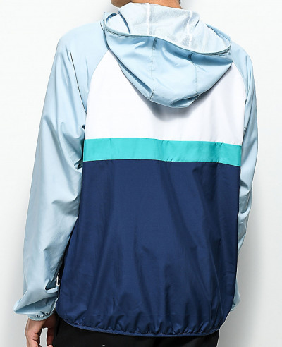 New Custom Made Stylish Grey  White & Blue Windbreaker Jacket