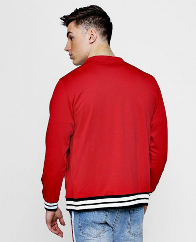 New-Custom-Selling-Red-Sports-Rib-Varsity-Bomber-Jacket