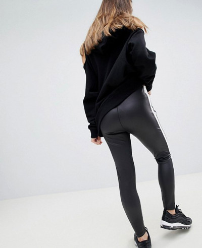 New-Desgin-Leather-Look-With-Side-Stripe-Tight-Leggings