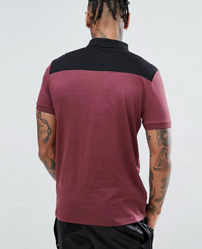 New Design Men Contrast Panel Polo With Zipper Neck