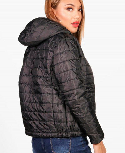 New Fashion Blue Quilted Hooded Padded Jacket