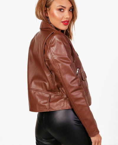 New Fashion Brown Leather Biker Jacket