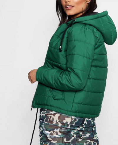 New Fashion Green Hooded Padded Coat Jacket