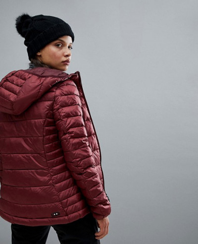 New Fashion Women Hooded Jacket In Burgundy