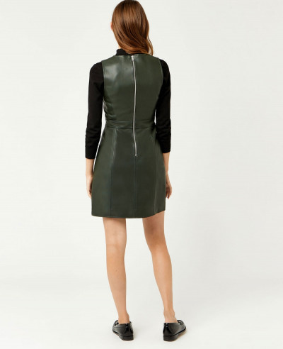 New-Green-Faux-Custom-Leather-Dress
