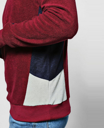 New High Quality Men Fashion Velvet Color Block Sweatshirt