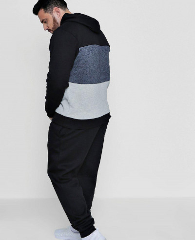 New-Hot-Selling-Big-And-Tall-Skinny-Fit-Colour-Block-Tracksuit
