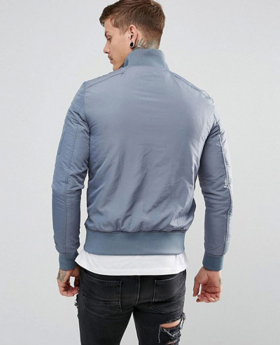 New Look Funnel Jacket In Grey Blue