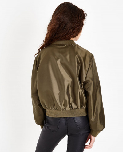 New Look Khaki Satin Bomber Varsity Jacket