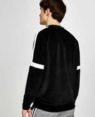 New Look Men Black Velour Taping Sweatshirt