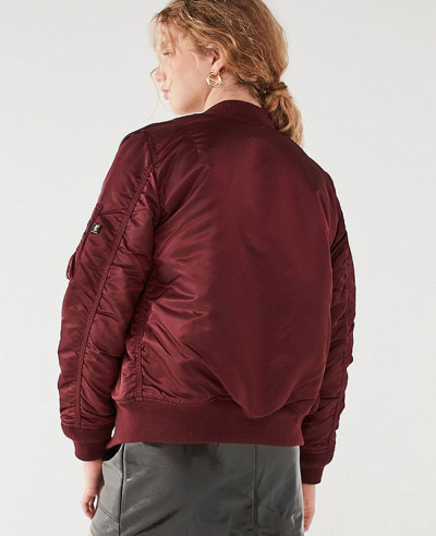 New Look Satin Maroon Bomber Varsity Jacket