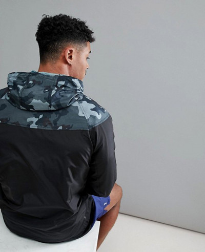 New Look Sport Windbreaker Jacket With Camo Panel And Hood In Black
