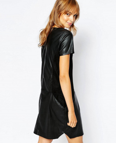 New-Look-Women-Leather-Look-Shift-Dress