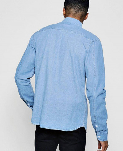 New Men Stylish Hot Made Denim Shirt In Pale Blue