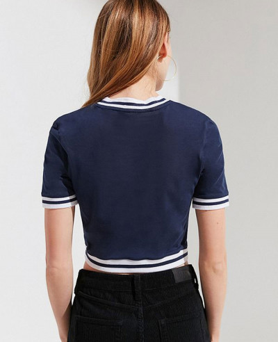 New Most Selling Navy Blue V Neck Cropped Tee