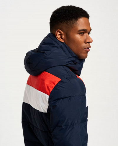 New Navy Blue Colour Block High Custom Stylish Men Padded Puffer Jacket