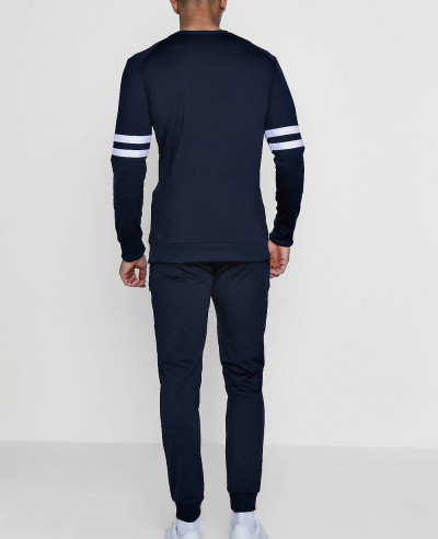 New Navy Blue Panelled Tricot Tracksuit Sweater