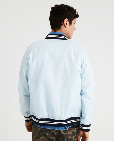 New Sky Blue Men Varsity Bomber Varsity Jacket