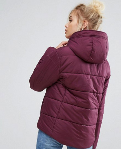 New Style Padded Jacket In Burgundy