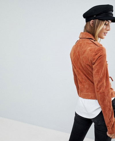 New Stylish Tall Suede Leather Jacket