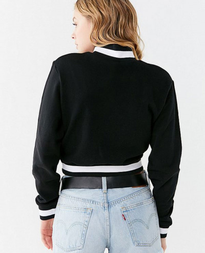 New Stylish Cotton Fleece Track Half Zipper Cropped Sweatshirt