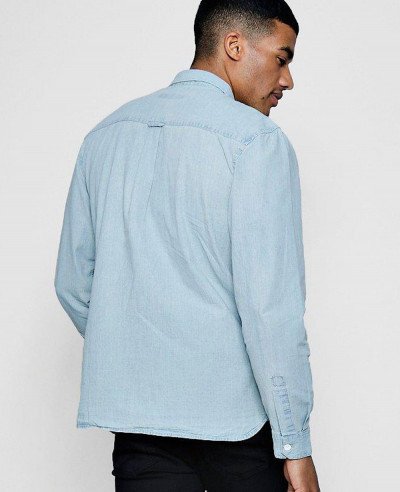 New Stylish Custom Bleach Denim Shirt With Pockets