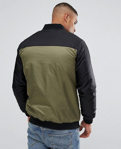 New Stylish Custom Colour Block Bomber Jacket In Khaki