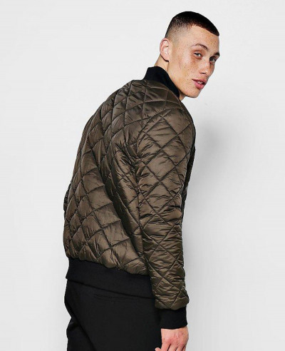 New Stylish Custom Diamond Quilted Bomber Padded Jacket