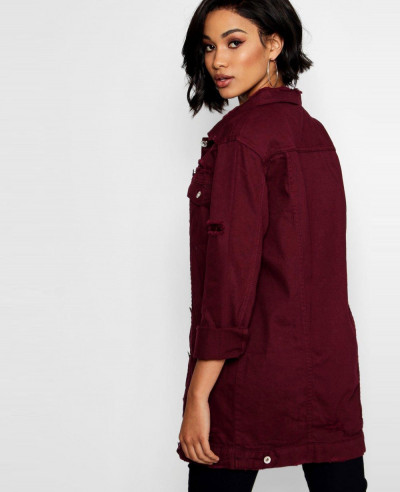 New Stylish Fashion Dark Burgundy Long Line Denim Jacket