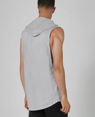 New Stylish Grey Hooded Tank Vest