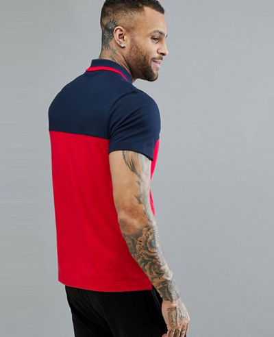 New Stylish Men Colour Block Polo in Navy