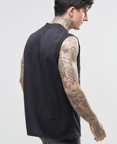New Stylish Men Custom Tank Top In Black