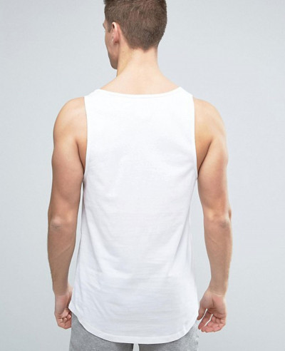 New Stylish Men Longline Vest With Curved Hem Tank Top