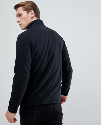 New Stylish Plain Black Fleece Track Jacket