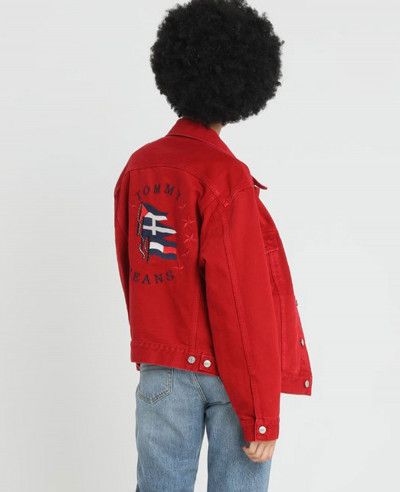 New Stylish Red Denim Jacket