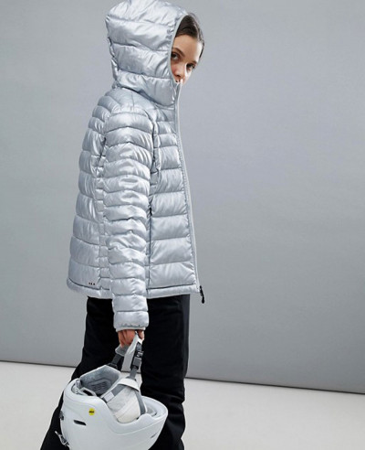 New Stylish Women Quilted Padded Jacket In Silver