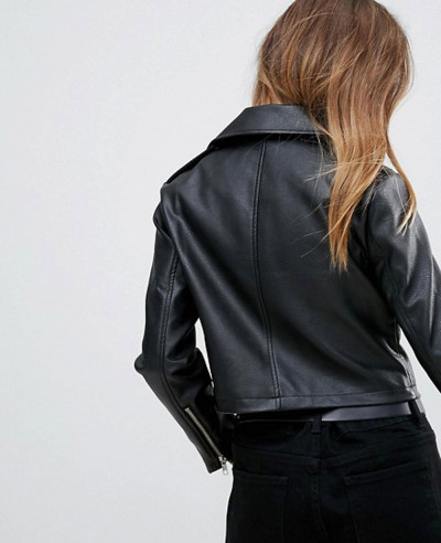 New Ultimate Leather Look Biker Jacket