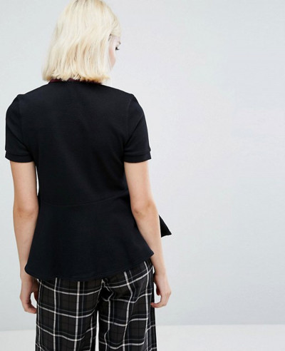 New Women Black Custom Peplum Polo Shirt