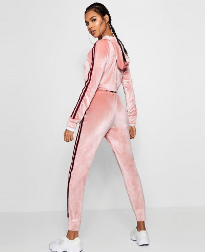 Olivia Side Stripe Velour Jogger
