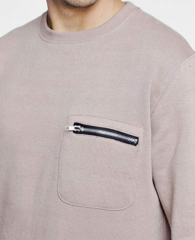 Only Zipper Pocket Detail Crew Neck Sweater Sweatshirt