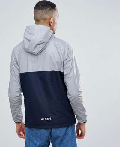 Overhead Windbreaker Jacket In Reflective With Navy Panel Exclusive To About Apparels