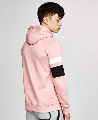 Pink Colour Block Men Stylish Hoodie