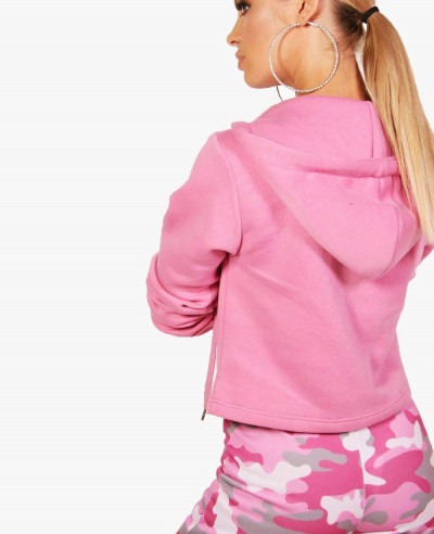 Pink-Lace-Up-Running-Fleece-Hoodie