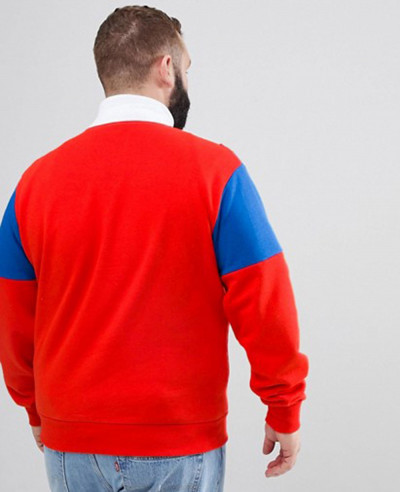 Plus Colour Block Men Fashionable Zipper Sweatshirt In Red