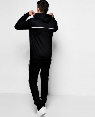 Pullover Black Over The Head Hooded Tracksuit With Piping