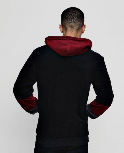 Pullover Colour Block Fleece Over The Head Hoodie