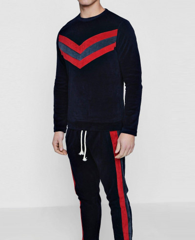 Pullover Velour Panelled Skinny Fit Sweater Tracksuit