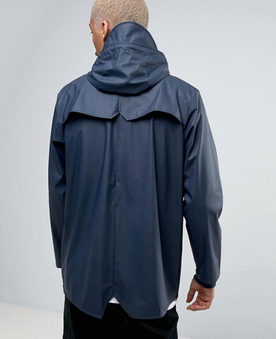 Rains Short Hooded Jacket Waterproof in Navy Windbreaker Jacket