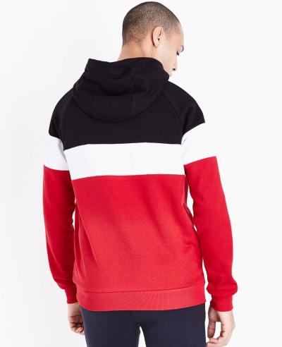 Red-Colour-Block-Stripe-Hooded-Sweatshirt