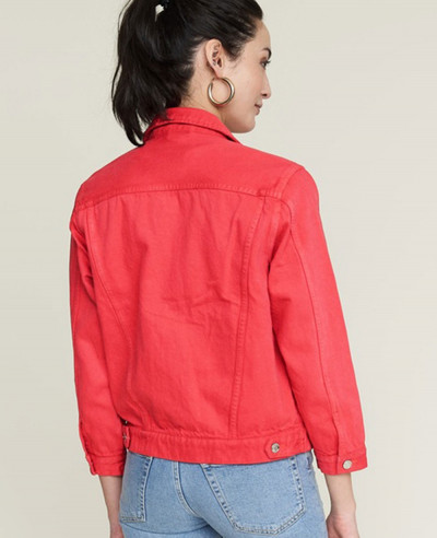 Red Cotton Short Body Denim Jacket